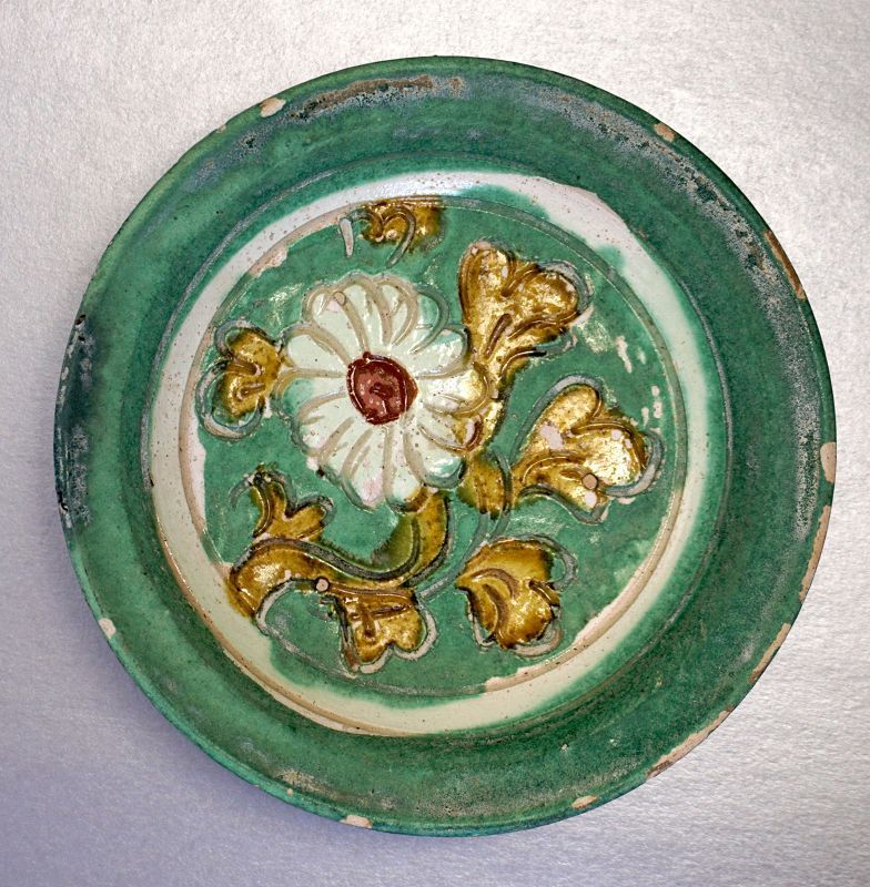 Liao Sancai Saucer Dish with Green Glaze, incised with Haitang Flower