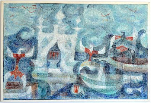 River Festival (1962), an Important Oil Painting by Manuel Rodriguez