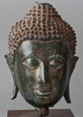 Superb and Rare Bronze Lanna Buddha Head, Thailand, Late 15th Century