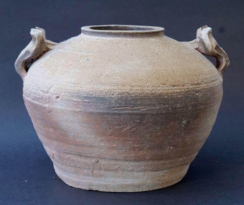 Han Dynasty Proto-Porcelain Jar (Pou) with Animal Mask Handles