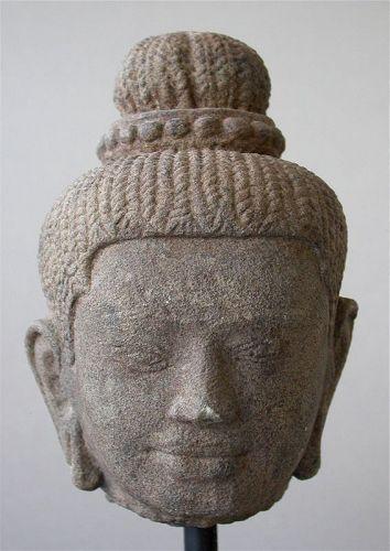 A Finely Carved Khmer Stone Head of a Deity, possibly Uma