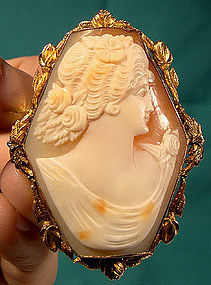 Large 10K CAMEO PIN PENDANT w/ HEXAGONAL SETTING 1910