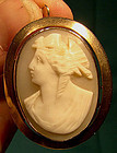12K ROSE GOLD SHELL CAMEO BROOCH PENDANT 1870-80