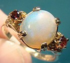 10K OPAL and GARNETS RING 1950s