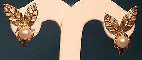Pair 9K CULTURED PEARL LEAF EARRINGS