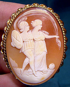 10K APHRODITE & ARES SHELL CAMEO PIN PENDANT 1920s