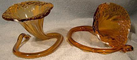 Pair GLASS WHIMSEY VASES c1900