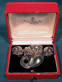 GEORG JENSEN DOUBLE TULIP STERLING SILVER PIN & EARRINGS SET Box