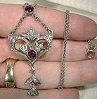 Art Nouveau Sterling Silver Purple Clear Paste Lavaliere Necklace 1900