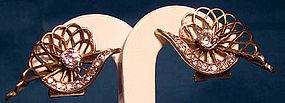 1930s FRENCH GILT STERLING RHINESTONE EARRINGS