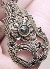 Early CORO ART DECO STERLING MARCASITE NECKLACE c1920s