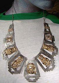 PERU(?) 18K GOLD & SILVER INCAN GODS NECKLACE