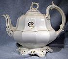 IRONSTONE TEA or TOBACCO LEAF TEAPOT & 8 PETIT FOUR PLATES 1860s