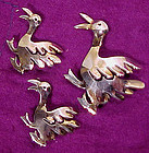 Set of 3 STERLING SILVER DUCKS SCATTER PINS 1930s-40s