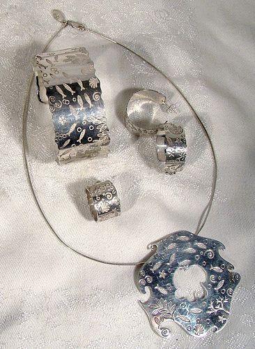 Birks ESTY ACQUATIKA Sterling Silver Set w/Box 4 Pc