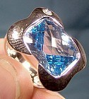 KRISTINA 18K WHITE GOLD BLUE TOPAZ and DIAMOND RING