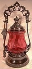 CRANBERRY THUMBPRINT PATTERN GLASS PICKLE CRUET on SP STAND 1890