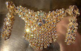 AURORA BOREALIS RHINESTONE SWEEP FRINGE PIN & EARRINGS 1960s