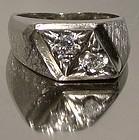 Retro Cool 14K WHITE GOLD DIAMONDS MAN'S RING 1960s