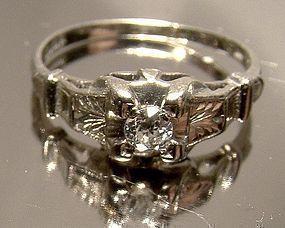 Art Deco 14K WHITE GOLD DIAMOND RING c1920s