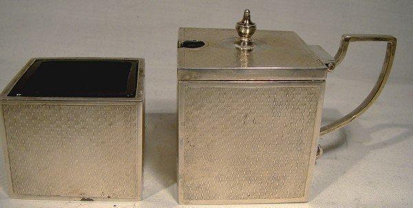 Superb Art Deco Cube STERLING SILVER MUSTARD POT & SALT CELLAR