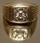 MAN'S 10K & 14K DIAMOND RING 1960s Size 11-1/2