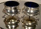 Pair FOOTED STERLING SILVER SALT DISHES - COBALT LINERS