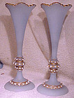 PAIR BOHEMIAN ARTS & CRAFTS SATIN GLASS JEWELLED VASES 1900