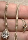 White Teardrop Cubic Zirconium CZ Sterling Silver Pendant on Chain