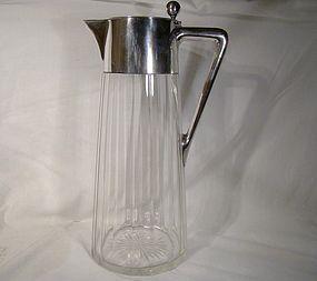 ARTS & CRAFTS 800 SILVER CUT GLASS CLARET JUG 1900 Gebr. Friedland