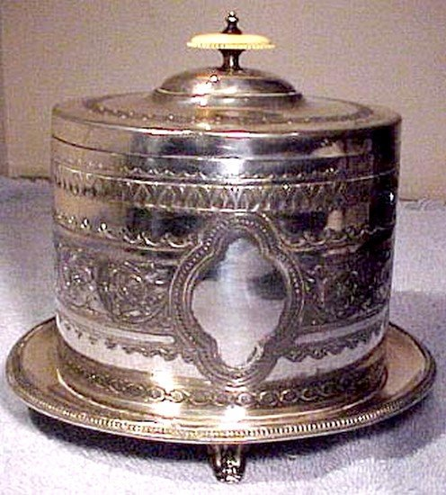 Victorian ENGLISH SP BISCUIT CADDY or Barrel CARVED FINIAL 1880