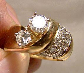 14K Yellow Gold 2 Diamond Anniversary Wedding Ring Size 6