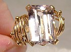 18K Pink Topaz Ring 1970s 18 K Custom Made Size 5-1/2