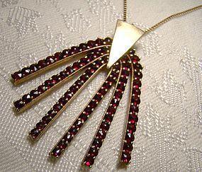 Sterling Silver Garnets Pendant Necklace 1960s Modernist Gilt 84