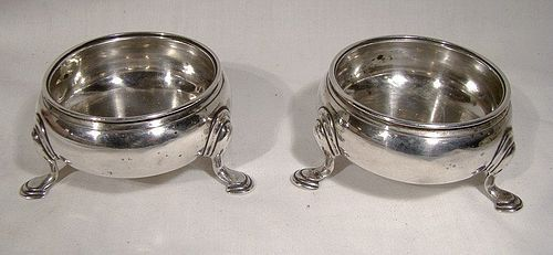 Georgian Sterling Silver Footed SALT CELLARS London 1743