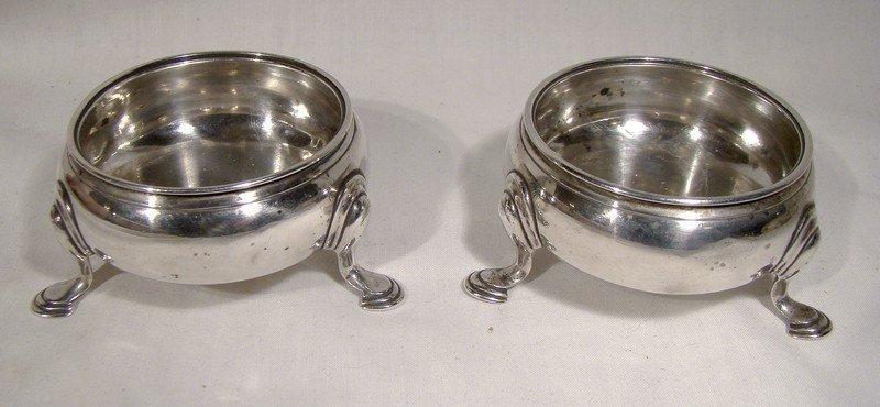 Georgian Sterling Silver Footed SALT CELLARS London 1743