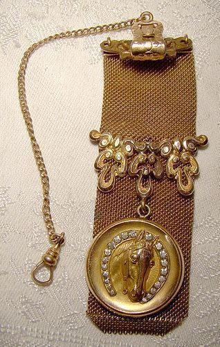 Horse Equestrian Gold Filled Mesh Man's Watch Fob 1900