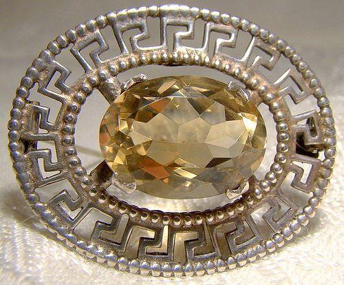 Robert Allison Scottish Sterling Silver Citrene Greek Key Pin Brooch