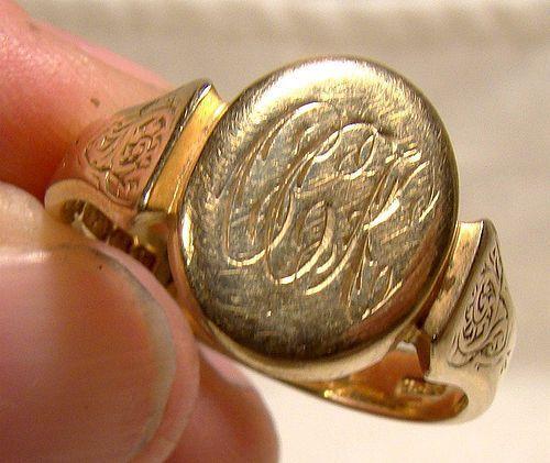 Art Deco 9K Yellow Gold Gentlemans Signet Ring 1926 Size 10-3/4