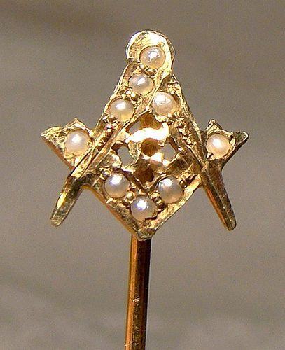 14k Masonic Stick Pin Seed Pearls 1910 14 K Tie Lapel Pin Masons