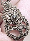 Coro Art Deco Sterling Silver Marcasites Necklace 1920 1930 Industrial