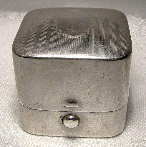 Sturdy Nickle Silver Antique Ring Box - Thomas Lees Hamilton Ontario