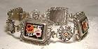Italian Mosaic Floral Filigree Bracelet 1940 1950