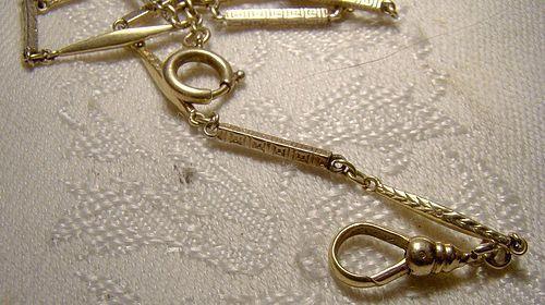 Edwardian 14K White & Yellow Gold Rod Link Watch Chain c1910 1920