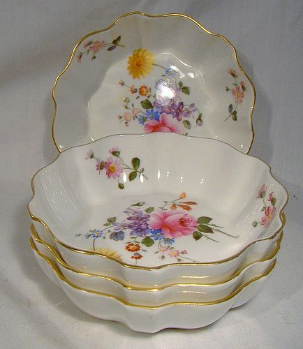 4 Derby Posies Ruffled Individual Bowls or Dishes by Royal Crown Derby