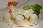 German Porcelain Chicken Figural Schnapps Decanter Glasses Tray 1920s