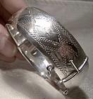 Hand Engraved Sterling Silver Bangle Bracelet 1940s-50s Diamond Motif