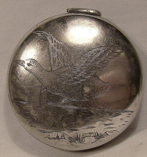 Victorian Hand Engraved Silver Plated Snuff Box with Beach Scene