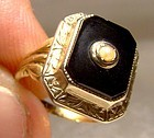 Art Deco 14K Gold Black Onyx and Pearl Signet Style Pinkie Ring 1920s