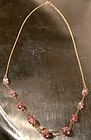 Art Deco 9K Yellow Gold Pink Crystal Graduated Round Bead Necklace